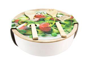 Salatschüssel XXL mit Besteck - Bambus / Kunststoff