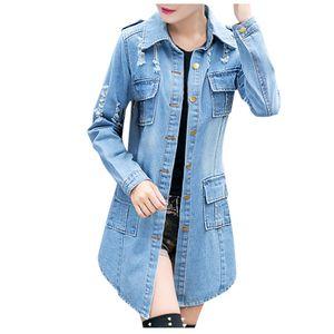 Frauen Boyfriend Ripped Jeansjacke Damen Biker Casual Long Jeans Mäntel Outdoor Größe:XL,Farbe:Blau