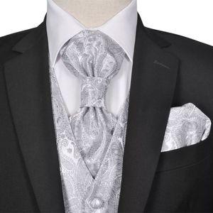 Huicheng Herren Paisley-Hochzeitswesten-Set Größe 56 Silber