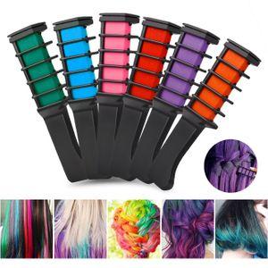 6 tlg Temporäre Haarkreide Haar Kamm 6 Farben Färben Haartönung Salon Set