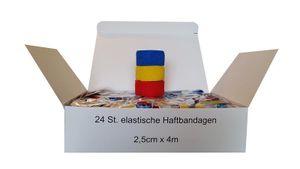 24 Stück Bandage elastische selbsthaftende Haftbandage 2,5 cm x 4 m