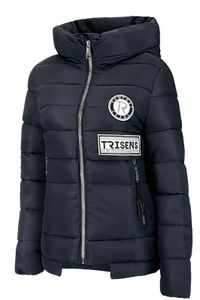 Trisens Damen Winterjacke Kurz Große Kragen, Farbe:Dunkelblau, Größe:M