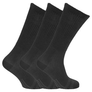 Damen Bambus-Socken, ideal für Diabetiker, extra weit, schnüren nicht ein, 3 Paar MB577 (37-41 EU) (Schwarz)