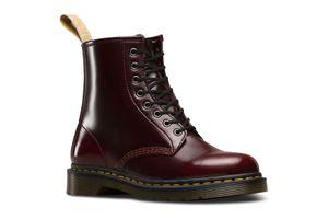 Dr. Martens Vegan 1460 Cherry Red Oxford Rub Off Damen Boots Stiefel Schuhe Rot, Größe:39