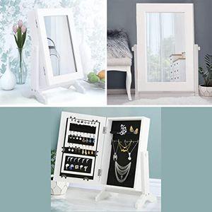 GOPLUS Spiegelschrank Schmuckregal mit Spiegel, Schmuckschatulle Schmuckhalter, Standspiegel, Holz Schmuckkasten, weiß