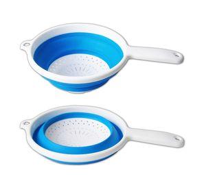 SEIHER faltbar Ø22cm Silikon Küchensieb Nudelsieb Küchensieb Abtropfsieb Sieb 60(Blau)
