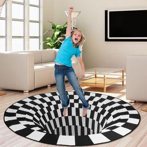 Sunnyme 3D Illusion Teppich, Optischer Täuschungsteppich Teppich für Wohnzimmer Schlafzimmer Flur Läufer Esszimmer 100 x 100 cm