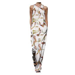 Frauen ärmellose Overalls Jumpsuit Casual Print Sommer Weite Bein Latzhose Größe:XXL,Farbe:Weiß
