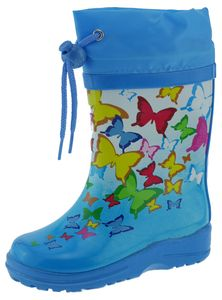 BECK Kinder Mädchen Gummistiefel Butterflies Blau 868, Größe:EUR 35