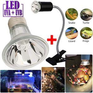 Heizlicht+Lampenhalter Terrarium Aquarium Wärmelampe Reptilien Strahler UVA UVB 25W 220V