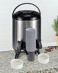 Große Thermoskanne 9 Liter Thermobehälter für Kaffee Glühwein Warmwasser Spender mit 2 Zapfhahn Isolierkanne Airpot