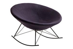 SalesFever Schaukelstuhl rund | Bezug Webstoff | Kufen Gestell Metall schwarz | B 105 x T 105 x H 101,5 cm | dunkelgrau
