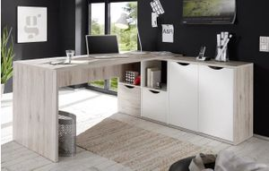 """Eckschreibtisch """"QUADRO"""" Winkelschreibtisch Schreibtisch Büro in Sandeiche-weiß"""