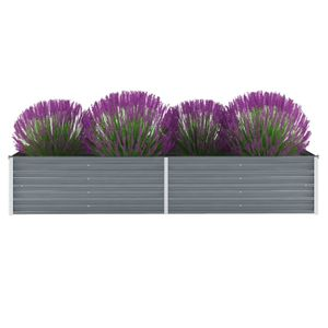 anlund Garten-Hochbeet Verzinkter Stahl 240x80x45 cm Grau