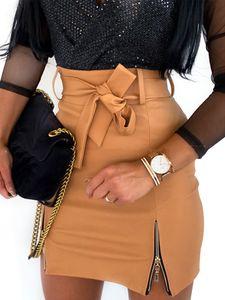 Damen Kunstlederrock Hohe Taille Reißverschluss Schnürung Hüftkleid,Farbe: Khaki,Größe:S
