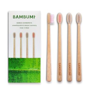 BAMBUMI Bambus Zahnbürsten, Umweltfreundliche Holzzahnbürsten - BPA frei, Nachhaltige Produkte, Biologisch abbaubare Handzahnbürsten (4er-Set rot/bambus)