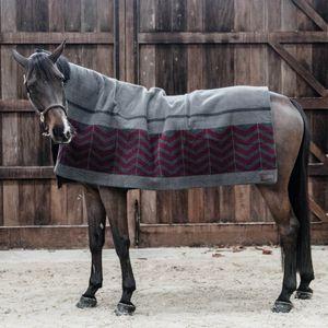Kentucky Horsewear Fleecedecke Square Fishbone Heavy  - Grau/Bordeaux