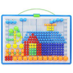 296 Stück Kinder Mosaik Steckspiel Board Steckmosaik Montessori Spielzeug Geschenk