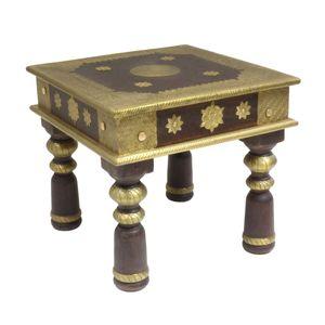 Holztisch Opiumtisch Asiatischer Wohnzimmertisch Couchtisch Sofatisch niedriger Tisch ca.60 x 60cm Dunkelbraun mit Gold TEC-323 Groß