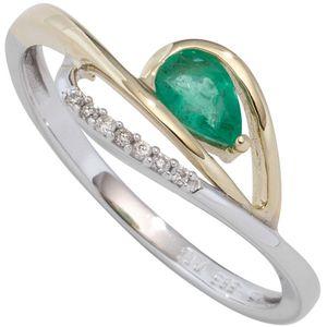 JOBO Damen Ring 585 Weißgold Gelbgold bicolor 1 Smaragd grün 7 Diamanten Brillanten Größe 54
