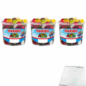 Haribo Super Mario Fruchtgummi 3er Pack (3x570g Runddose) + usy Block