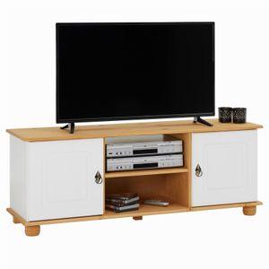 TV-Lowboard BELFORT in weiß/braun, Kiefer massiv