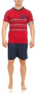 Herren Pyjama Kurz Schlafshorts und T-Shirt, Rot XL
