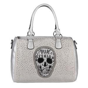 OBC Damen Totenkopf Skulls Tasche Strasssteine Glitzer Bowling Handtasche Shopper Beuteltasche Schultertasche Umhängetache Leder Optik Silber 36x28x14