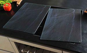 Kesper 2 er Set XL Herdabdeckung Glas 50 x 38,5 Herdabdeckplatte Motiv Schiefer