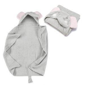 Kapuzenhandtuch - Elefant Baby Handtuch mit Kapuze - Badeponcho Kinder Poncho aus Frottee