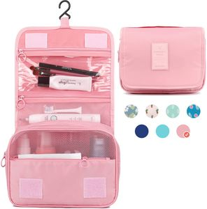 Reise Kulturtasche Zum Aufhängen Kulturbeutel Kosmetiktasche Waschtasche für Kinder Frauen Mädchen Damen (Rosa)