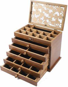 6 Schicht  Schmuckkasten Schmuckkoffer Schmuckschatulle Schubladen   Holz Schmuckbox Uhrenbox  Jewelry Box  Geschenk