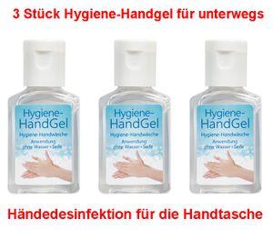 GKA 3 Stück Hygiene Hand Gel Handgel für unterwegs Anwendung ohne Wasser und Seife auf der Arbeit für die Handtasche mit Vitamin E Aloe Hygiene Handwäsche Händedesinfektion