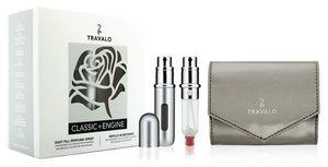 Travalo Classic Geschenkset Silber (nachfüllbarer 5 ml Parfümzerstäuber + 5 ml Nachfüllpackung + Etui)