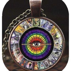 Mllaid Tarotkarten-Anhänger, Tarotkarten-Eckkette, Alchemie-Schmuck, Wicca-Schmuck, Tarot-Halskette, Metaphysischer Schmuck, Mystische Tarot-Halskette
