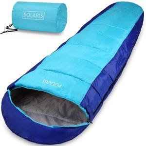 Schlafsack Polaris 210x75cm Mumienschlafsack -7°C Deckenschlafsack Zelt Camping, Farbe:dunkelblau-hellblau
