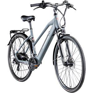Zündapp Z810 700c Damen E-Bike Trekkingrad Pedelec 28 Zoll E-Trekkingrad Fahrrad Trekking Bike StVZO, Farbe:grau, Rahmengröße:50 cm