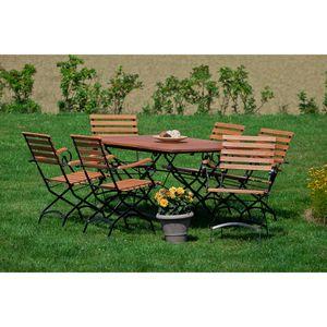 Merxx 7tlg. Schlossgarten Gartenmöbelset - 6 Sessel, 1 Tisch - Farbe: natur - Maße: Sessel: 60 x 57 x 85 cm Tisch: 100/150 x 90 x 74 cm; 6x 24241-217  + 1x 24247-217