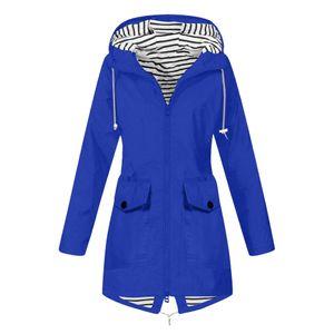 Frauen Solid Rain Jacke Outdoor Plus Size Wasserdichte Kapuze Winddichter lockerer Mantel Größe:M,Farbe:Blau