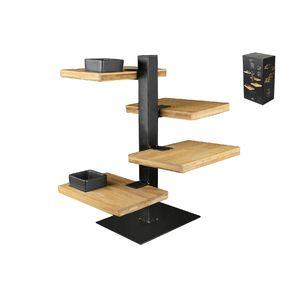 GUSTA Etagere Holz-Metall 19,5x14,5x36cm, 4 Ebenen, schwarz/natur