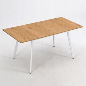 B&D home® Esstisch ausziehbar 160x80 Eiche weiß skandinavisch schmal dining table