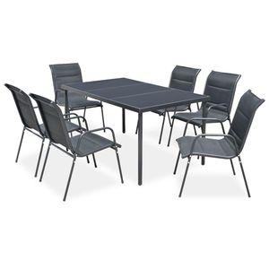 7-teiliges Outdoor-Essgarnitur Garten-Essgruppe Sitzgruppe Tisch + stuhl Stahl Schwarz