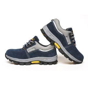 Männer Arbeitsschuhe Leder Arbeitsstiefel Atmungsaktiv Blau Und Grau Business, EU 44 US 10 UK 9.5 wie beschrieben