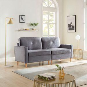 3-Sitzer Sofa, Couch für Wohnzimmer, gemütlich morderne Couch mit dezenten Designelementen, Federkern und loser Rücken, 194*76*90