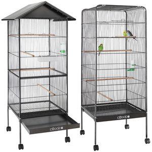 Cadoca Vogelvoliere XL Vogelkäfig Voliere Vogelhaus mit Sitzstangen, Ausführung:Voliere ohne Dach