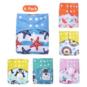 Baby Stoffwindeln Packung mit 6 verstellbaren, waschbaren, wiederverwendbaren 2-Lagen-Designs mit starker Absorption【6 Stück】