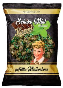 Henri gefüllte Minibonbons mit Schoko Mint Hartkaramelle 200g