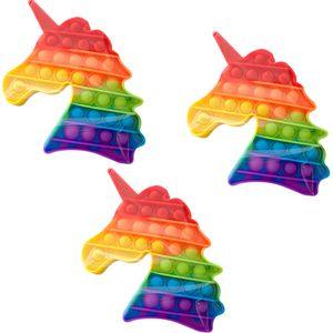 3X Regenbogen-Einhorn Push Pop It Pop Blase Sensorisches Zappeln Spielzeug Autismus Stressabbau Kinder Lernspielzeug