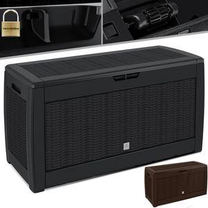 KESSER® Auflagenbox Kissenbox 310 Liter mit Rollen klappbarer Deckel Haltegriffe Rattanoptik Gartenbox, Farbe:Anthrazit