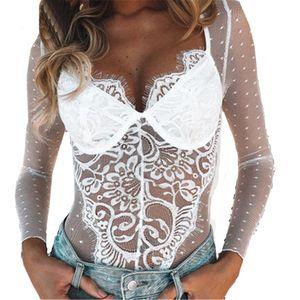 Neue Frauen Sexy Dessous Spitze Sexy Body Dot Perspektive Teddy Unterwäsche Bodysuit Größe:S,Farbe:Weiß